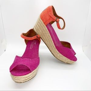 Toms Pink & Coral espadrille Wedge Sandals
